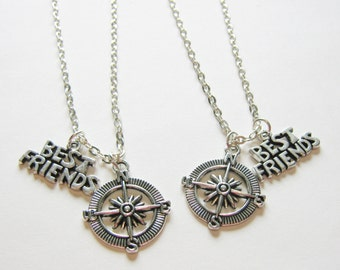 2 Compass Best Friends Necklaces, Couples Necklaces, Sisters Necklaces, Compass Necklace, BF GF Neckaces, Two Best Friends Necklaces