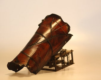 steampunk leather bracer, distressed