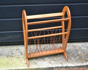 Wooden Mid Century Magazine  rack - holder  - Germany in the 60's