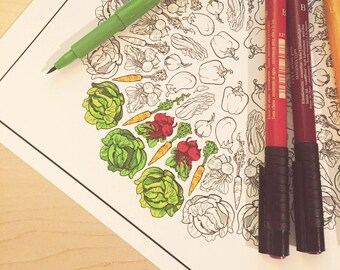 Veggie Wheels Coloring Page Set - Download