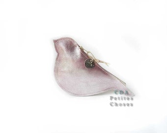 Wallet Little Bird pink metallic leather
