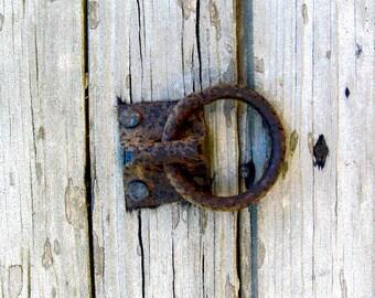 Rusty Door Latch Photo Barn Door Photograph 8x10 Rustic Art Print by Prchal Art Studio