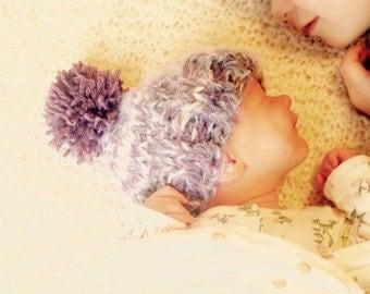 Baby Winter Beanie-grey and purple-Knit Cap with Pompom