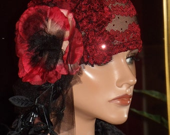 Red Flapper Hat Cloche 1920 style Personalized  Antique  style  Headpiece