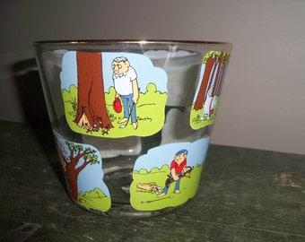 Vintage Ashby Golf Cartoon Humor Glass Ice Bucket Drinkware Golfer