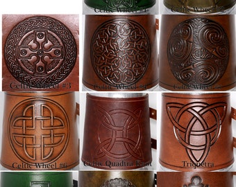 Celtic MUG WRAP ONLY - choose stamp and color - by Crimson Chain leatherworks
