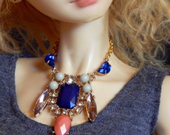doll necklace - Opulence - statement necklace for ball joint dolls - BJD jewelry - SD, DD, American Model - mint, coral, blue