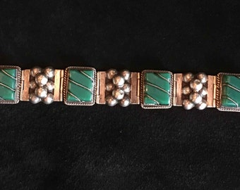 Vintage Sterling Silver and Green Stone Bracelet