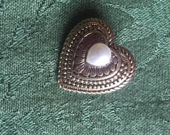 Vintage Heart Pin with Pearl Accent and Patterned Gold Tone Metal - 1970s