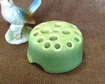Large 17 hole Rookwood pottery flower frog green matte finish arts and crafts cottage mission style collectible floral arranging supply