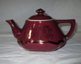 Vintage Hall 6-cup Teapot #0173, Burgundy, Gold Cherry Blossom Trim, ca. 1950s