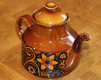 Brown English Teapot by Arthur Wood, Stratford, Blue and Yellow Graphic Print