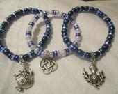 Trio of Scottish elasticated bracelets