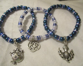 Trio of Scottish elasticated bracelets