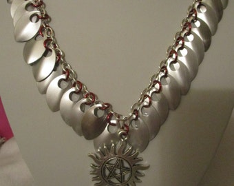 Supernatural inspired small protection sigil and scales necklace