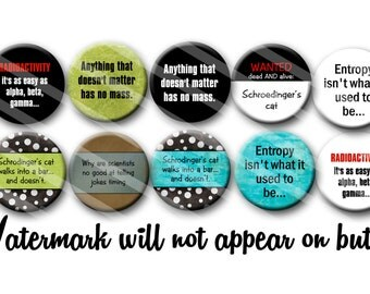 Science Geek Lovers Pin Back Button Party Favors of Gift set of  1.25 inch Buttons pins Badges