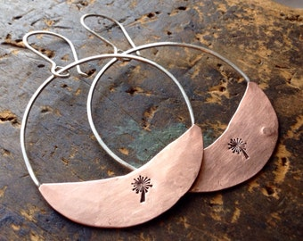 Up and Away • COPPER & SS hoops • copper half moons • Copper and Sterling Silver earrings • metalwork earrings • dandelions • boho