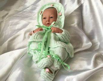 "Hand knitted dolls clothes for 15"" La Newborn Berenguer doll or simliar."