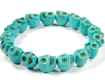 Turquoise Day of the Dead Skull Bracelet (Dia De Los Muertos - All Saints Day) - Crafted in the USA