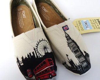 London England Toms. Custom Painted London Themed Toms. Hand painted Toms Shoes.