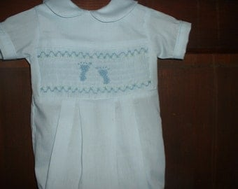 Hand Smocked Baby Bubble--Newborn-- Footprints--Made to order