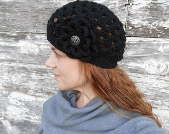 Black Women's Beanie with Flower - Black Crocheted Hat with Flower - Ready to Ship - Gift Idea for Her - Winter Hat - Flower Hat - Black Hat
