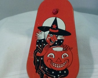 Vintage Halloween Noisemaker Witch and Jack-o-Lantern Tin Ratchet By Cohn