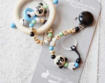 Baby gift set, Personalized baby gift, baby boy gift, Pacifier clip, meeting boy, teether, beaded pacifier clip, pacifier chain, panda, clip