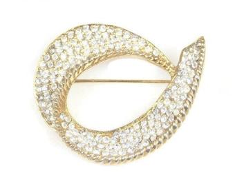 Sparkling Clear Glass Rhinestone Brooch Curved Gold Tone