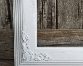 Square Frame, White Ornate Frame,  Custom Sizes, White,Shabby Chic,Wedding, Nursery,MW6 with LS, Bright White  (Los Angeles)