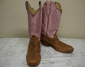 Women's Leather Justin Western Boots with Pink Tops Size 7B