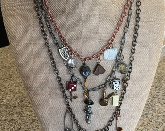 Mixed metal industrial charm necklace!