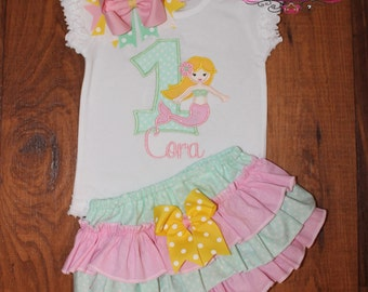 Mermaid Birthday Outfit with Ruffled Bloomers and Bow Yellow Pink and Mint