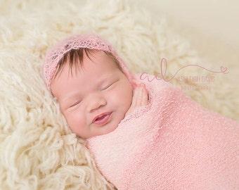 Sarah Knit Lace Newborn Bonnet - Cashmere Mohair