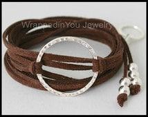 BOHO Infinity Wrap Bracelet - Adjustable Microfiber Faux Suede Bohemian Triple Wrap w/ Silver Textured Circle - Pick COLOR / SIZE