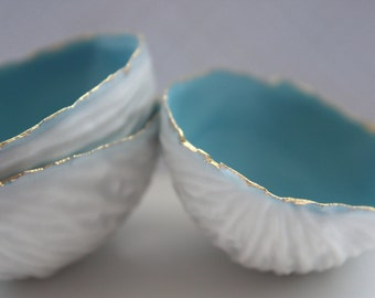 Big walnut shells from stoneware fine bone china with blue interior and real gold, - ring dish - ring holder