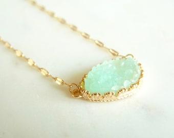 Mint Aqua Seafoam Blue Green Gold Bezel Druzy Drusy Layering Statement Necklace. Mint Necklace.  Druzy Necklace. Druzy Jewelry For Her