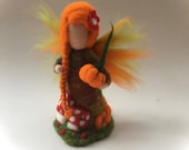 Fairy.Waldorf. hand-felted.Needle-felted. Waldorf. Summer.Autumn.Pumpkin.Toadstool. Seasonal.Autumnfairy.Maiden felted.Autumn-Maiden.