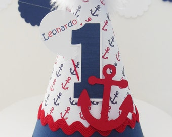 Lil' Sailor - Anchor Birthday Party Hat - Nautical- Personalized