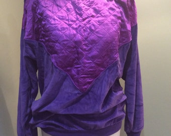 Vintage purple velour sweatshirt , size 10-12