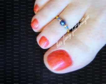 Toe Ring - Lapis Pearl - Gold - Stretch Bead Toe Ring