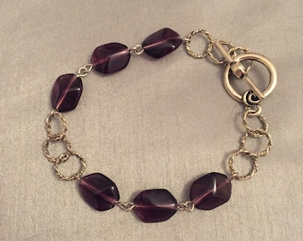 Deep purple and silver hoop bracelet