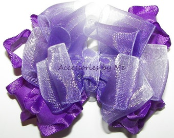 Frilly Purple Ruffle Bow, Ombre Organza Ribbon Hair Clip, Baby Girls Toddler Accessories Clips, Easter Pageant Barrette, 1st First Birthday