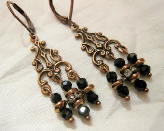 Antique Copper Victorian Edwardian Vintage Style Petite Chandelier Dangle Earrings Black Glass Faceted Bead Rhinestone Rondelle Lever Back