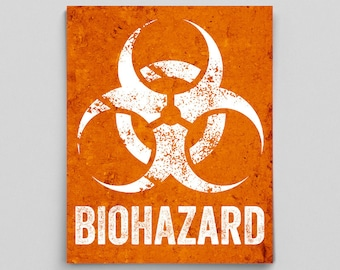 Zombie Posters for Boys Room Dorm Decor Biohazard Sign Office Decor Science Classroom Poster Gifts for Teachers Nerdy Gift Typographic Print