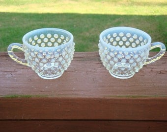 Fenton French Opalescent Hobnail Punch Cups total of 9