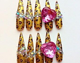 Fierce Leopard Kawaii Gyaru Nails