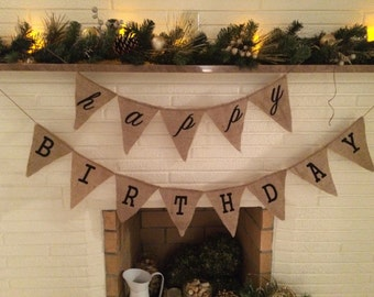 Happy Birthday Burlap Banner - Reusable!