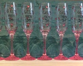 Personalised Hen Do Glasses - Hearts