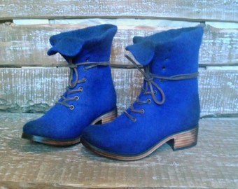 Felted ankle boots Marcella Ultramarine